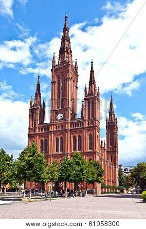Famous Markt Kirche In Wiesbaden, A Brick Building In Neo-gothic Style