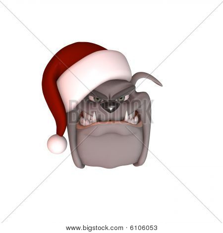 Bull Dog Wearing Santa Hat