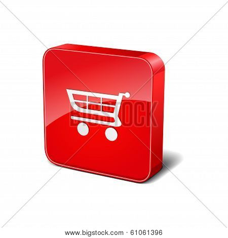 Shopping Cart 3d Rounded Corner Red Vector Icon Button