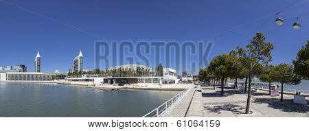 Lisbon, Portugal - August 02, 2013: Portuguese Pavilion, Atlantico Pavilion, Sao Gabriel and Sao Rafael Towers, Olivais Dock and the aerial tramway. Park of Nations