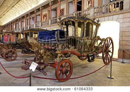 Lisbon, Portugal - June 18, 2013: Berlin Coach (18th cent. Baroque) - National Coach Museum, the most visit museum in Portugal -