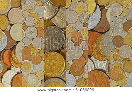 Coins Collage.different Coins As Background.