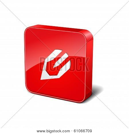 Content Writting 3d Rounded Corner Red Vector Icon Button