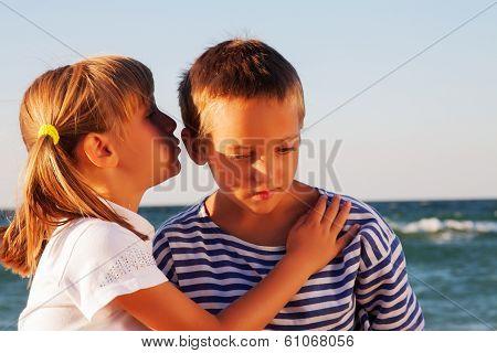 Photo of happy children on the beach