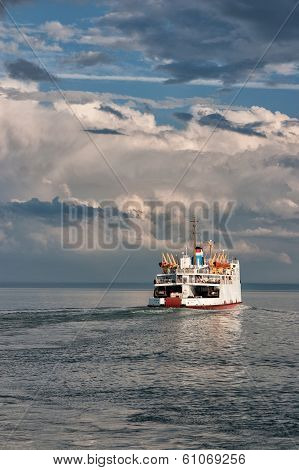 Ferry On St.lawrence River In St.simeon,
