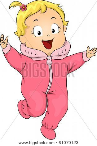 Illustration of a Smiling Baby Girl Wearing a Winter Onesie