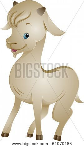 Illustration of a Cute Goat with a Shiny Ivory Coat
