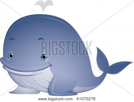 Illustration Featuring a Cute Whale with Water Spouting from its Blowhole