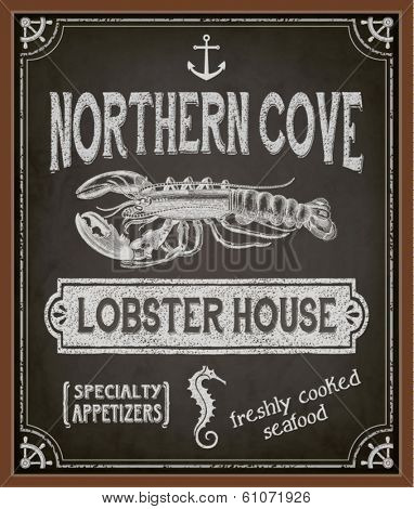 Chalkboard Poster for Seafood Restaurant - Colorful blackboard advertisement for seafood restaurant, with lobster, seahorse, anchor and special offers - hand drawn, chalks, vintage style marketing
