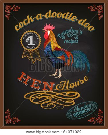 Chalkboard Poster for Chicken Restaurant - Colorful blackboard advertisement for restaurant with rooster, swirls, branches and specials - hand drawn, chalks, vintage style marketing