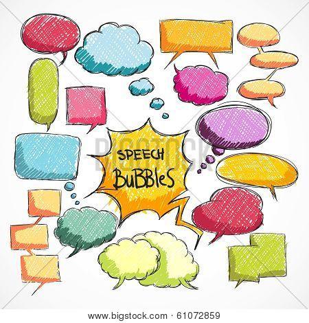Doodle comic chat bubbles collection