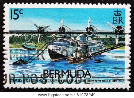 Postage Stamp Bermuda 1987 Sikorsky S-42B, 1937