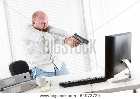 Angry Businessman Threatens Computer with a Gun