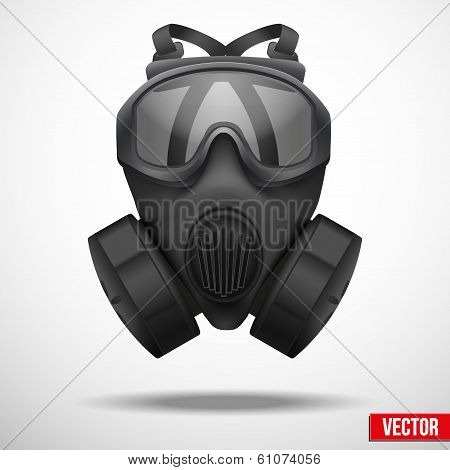 Military black gasmask respirator vector