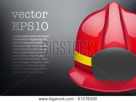 Red fireman helmet vector background