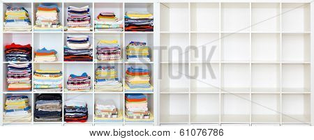 towels, bed sheets and clothes on the shelf, and ampty case