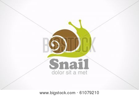 Snail cartoon fun style vector logo design. Creative design funny concept icon.