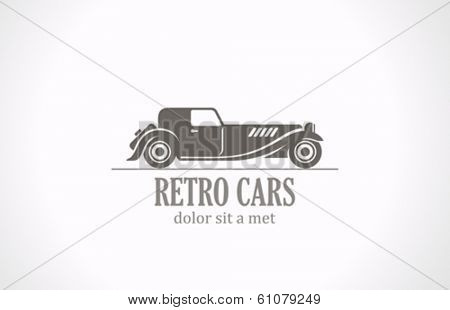 Retro Vintage car silhouette abstract vector logo design. Old Classic vehicle.