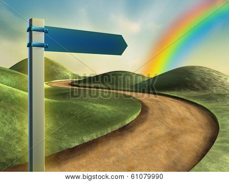 Road sign pointing toward a rainbow in the sky. Digital illustration.