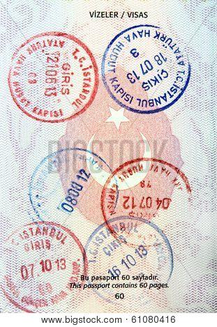 Visa stamps in Turkish passport