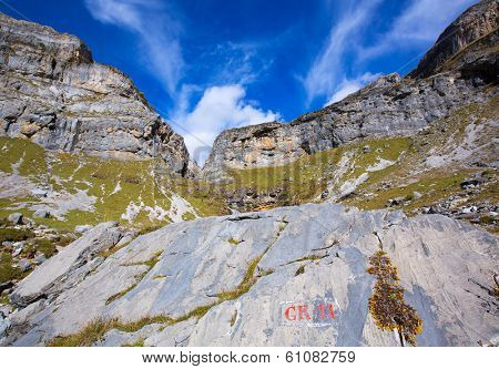 Circo de Soaso Monte Perdido in Ordesa Valley at Huesca Aragon Pyrenees spain