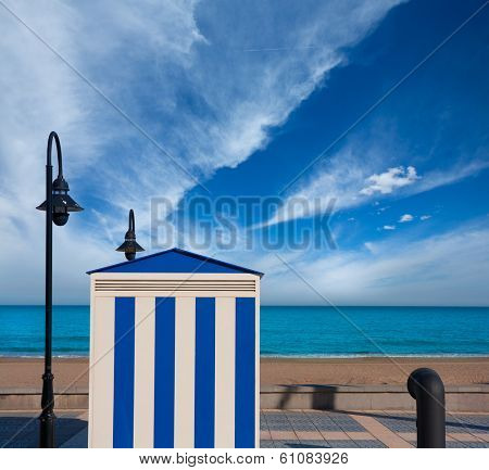Benicasim in Castellon Benicassim beach stripes house at Mediterranean sea of spain