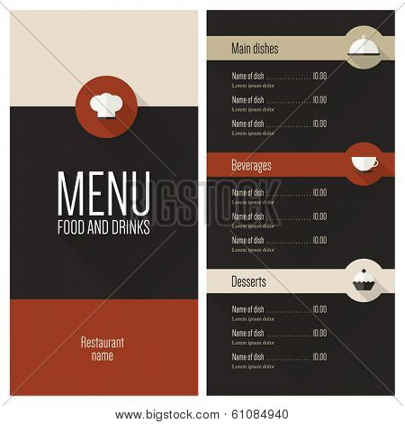 Restaurant menu. Flat design