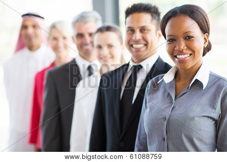 group of modern business people in a row