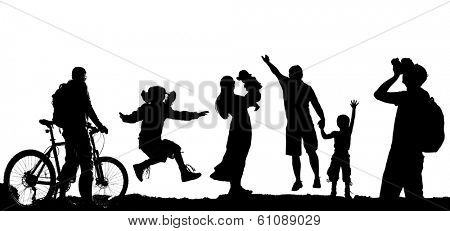 Set photos of silhouettes isolated on white background