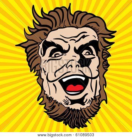 crazy bearded man cartoon illustration