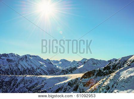 Winter Mountain Landscape Against The Blue Sky. Peaks Of Pirin Mountain