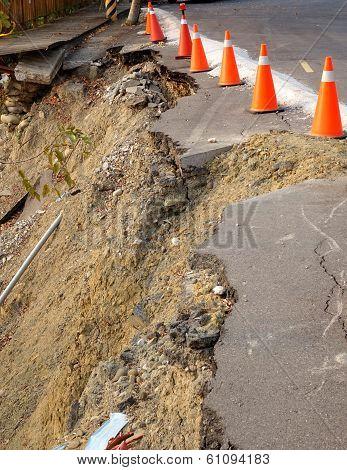 Road Damaged By Landslide