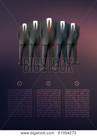 vector businessmen standing in a bright background