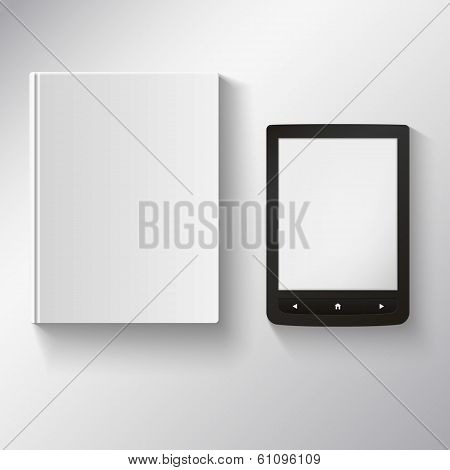 e-book and old book on a white background