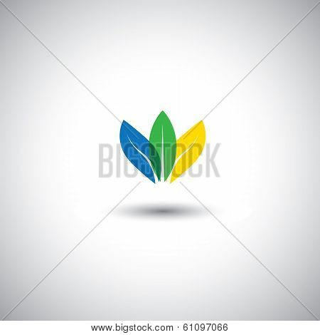 Beautiful Colorful Leaf Icons Representing Conservation - Vector Graphic.