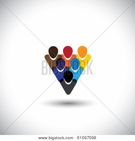 Colorful People Community Showing Unity & Integrity - Concept Vector