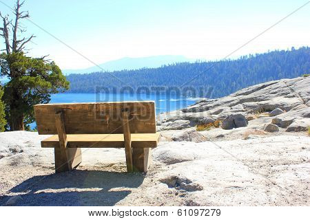 Wood bench setting in Lake Tahoe National Park