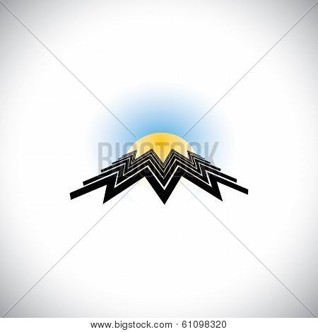 Abstract Building As Zig-zag Lines With Sun & Sky - Concept Vector