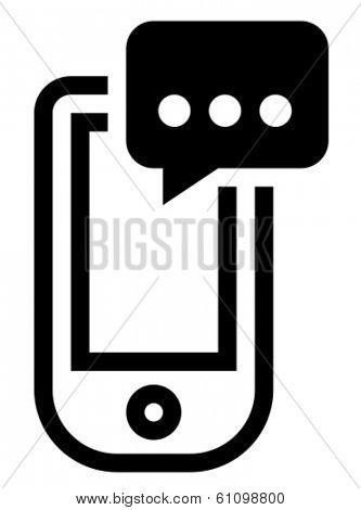 Black vector icon of mobile phone with message isolated on white background