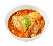 pic of curry chicken  - Close up Muslim style chicken and potato curry or chicken mussaman curry  - JPG