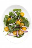 Spinach and yellow tomato salad, on white plate.  Overhead view, isolated.