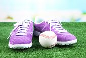 Beautiful gumshoes and baseball ball on green grass, on bright background