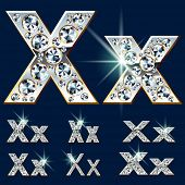 Ultimate vector alphabet of diamonds and platinum ingot. Six options. Letter x