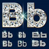 Ultimate vector alphabet of diamonds and platinum ingot. Six options. Letter b