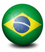 Illustration of a soccer ball with the flag of Brazil on a white background