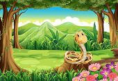 stock photo of jungle snake  - Illustration of a jungle with a snake above the stump - JPG