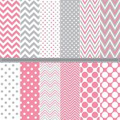stock photo of dots  - Polka Dot and Chevron seamless pattern set  - JPG
