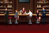picture of bartender  - A vector illustration of Business people hanging out in a bar after work - JPG