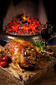 image of barbary duck  - duck roasted with apple and vegetables - JPG