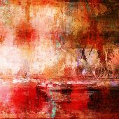 art abstract acrylic background in white, orange, red and brown colors